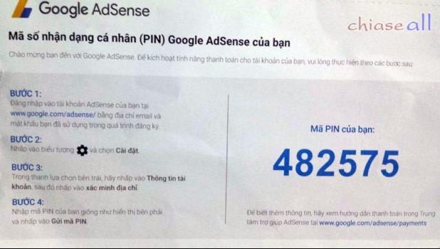 Mã PIN Google Adsense