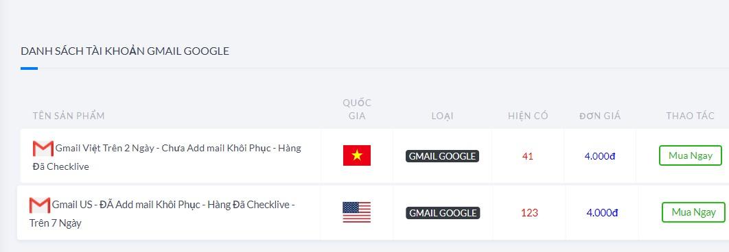 mua gmail