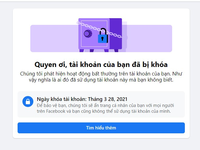 Mở khóa facebook dạng két sắt